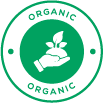 Icon showing hand holding organic plants